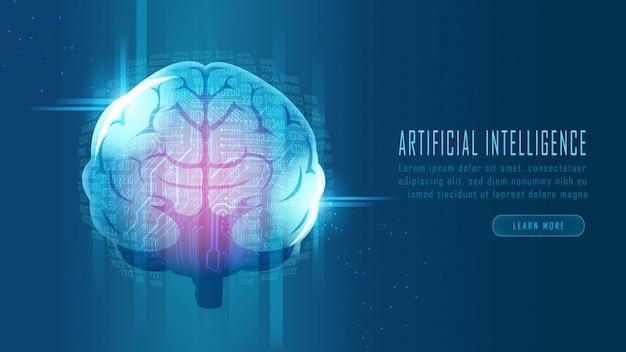 Futuristisches gehirn für künstliche intelligenz Premium Vektoren
