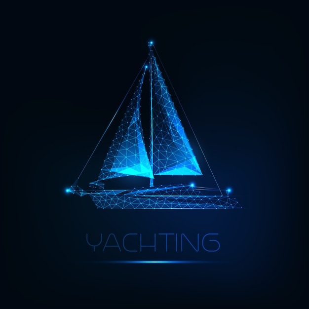 Futuristisches glühendes niedriges polygonales yachtboot lokalisiert auf dunkelblauem hintergrund. Premium Vektoren
