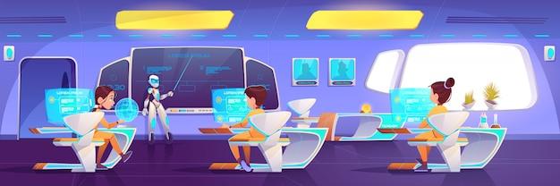 Futuristisches klassenzimmer mit kindern und roboterlehrer Kostenlosen Vektoren