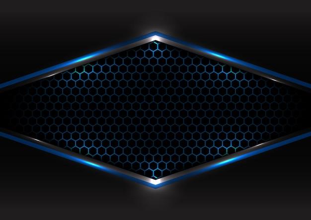 Futuristisches konzept der abstrakten technologie schwarzer und grauer metallischer überlappungslichthintergrund des blauen lichtrahmens sechsecknetzdesigns. Premium Vektoren