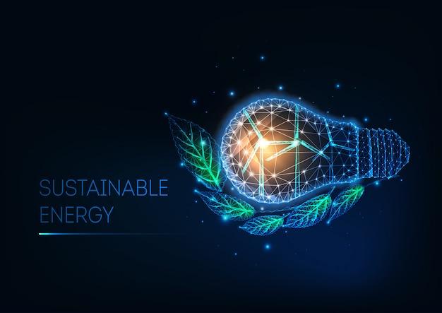 Futuristisches nachhaltiges energiekonzept mit niedriger polygonaler glühlampe, windkraftanlagen und grünblättern Premium Vektoren