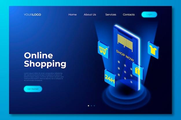 Futuristisches online-landingpage-thema für einkäufe Kostenlosen Vektoren