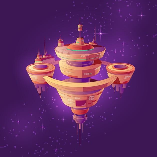 Futuristisches raumschiff, intergalaktische raumstation oder zukünftige orbitalstadt unter der sternenkarikatur Kostenlosen Vektoren