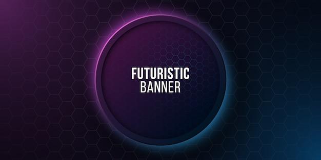 Futuristisches rundes banner mit wabenmuster. hightech-design. blau und lila leuchtende neonwaben. Premium Vektoren