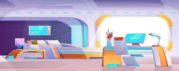 Futuristisches schlafzimmer mit möbeln, leerer wohnung oder raumschiffinnenraum Kostenlosen Vektoren