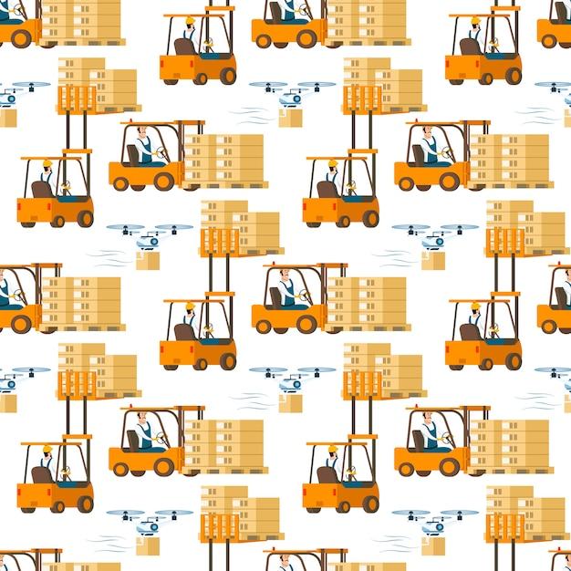 Gabelstapler-auto voll des kastens und des fliegenden drohnen-musters Kostenlosen Vektoren