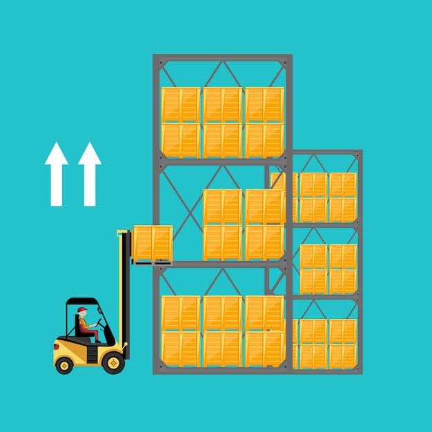 Gabelstapler mit kartons auf palette Premium Vektoren