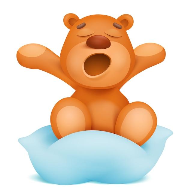 Gähnende teddybärzeichentrickfilm-figur, die auf kissen sitzt. Premium Vektoren