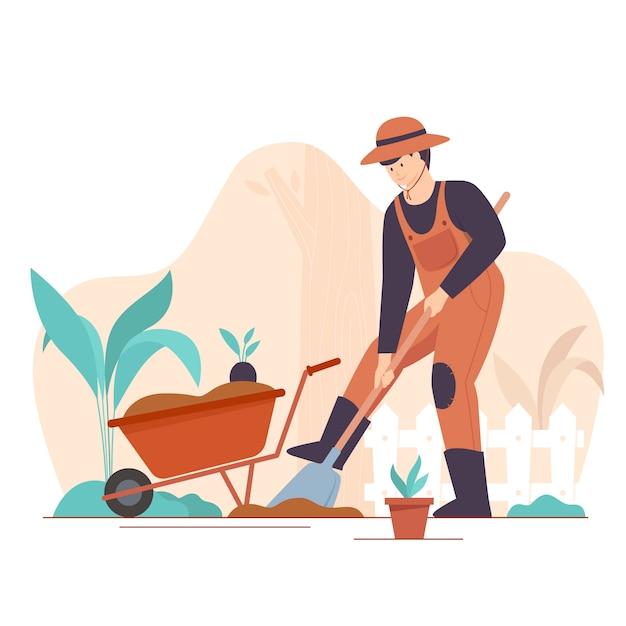 Gärtner, der flache vektorillustrationen setzt. männlicher handwerkercharakter, der gras mäht, isolierte packung von bäumen und büschen. gartengestaltung, pflanzenanbau und baumschule, gartenpflege. Premium Vektoren