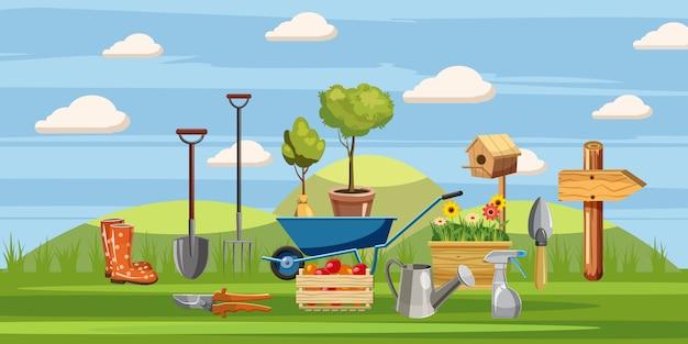 Gärtner werkzeuge hintergrund Premium Vektoren