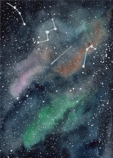 Galaxie aquarell hintergrund Premium Vektoren