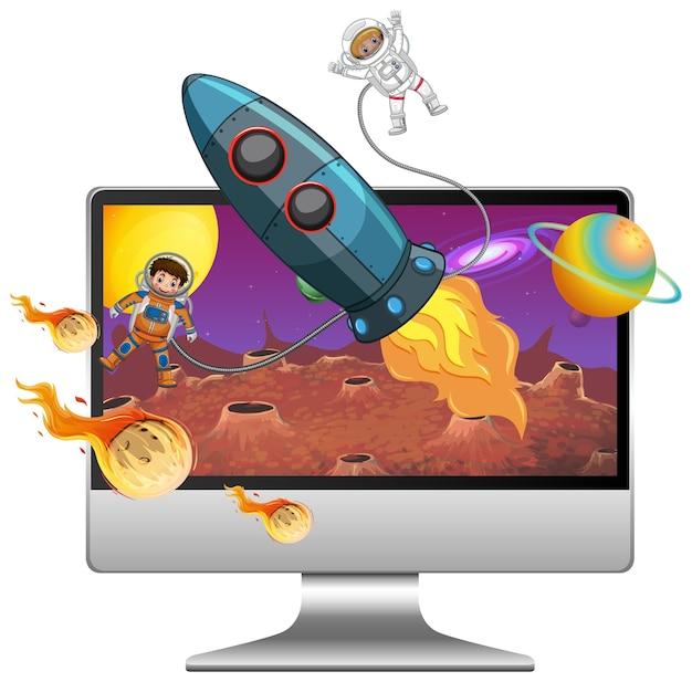 Galaxie hintergrund auf computerbildschirm Premium Vektoren
