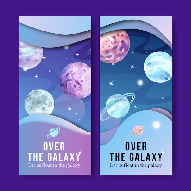 Galaxiefahne mit planetenaquarellillustration. Kostenlosen Vektoren