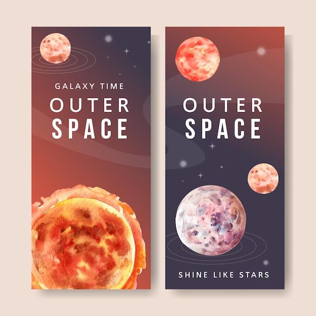 Galaxiefahne mit sonne, planetenaquarellillustration. Kostenlosen Vektoren