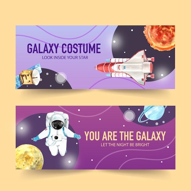 Galaxiefahnendesign mit satelliten, rakete, raumfahrer, planetenaquarellillustration. Kostenlosen Vektoren