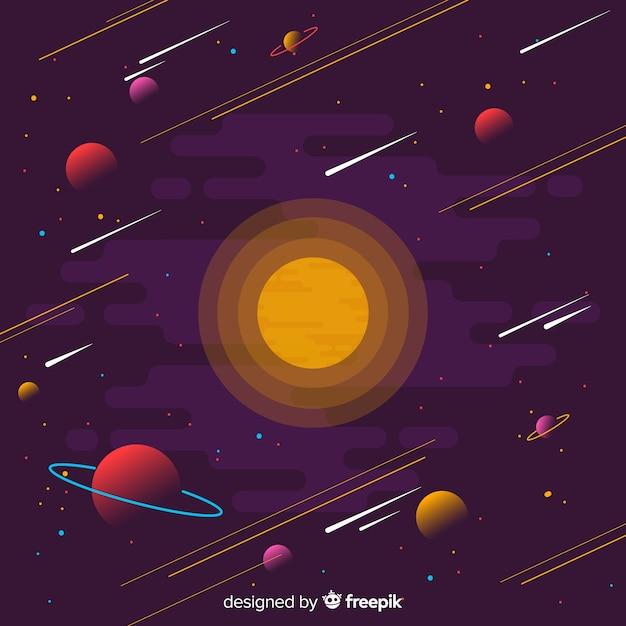 Galaxiehintergrund mit flachem design Premium Vektoren