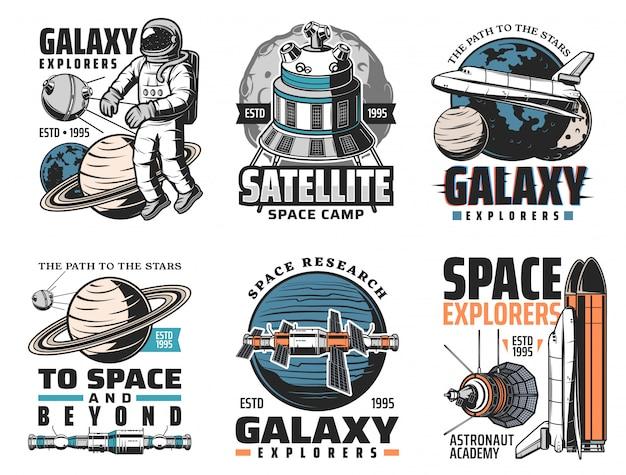 Galaxienerkundung, weltraumentdeckungsikonen Premium Vektoren