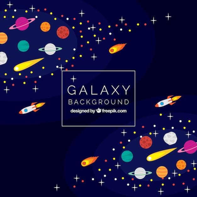 Galaxy hintergrund mit meteoriten und raketen Kostenlosen Vektoren