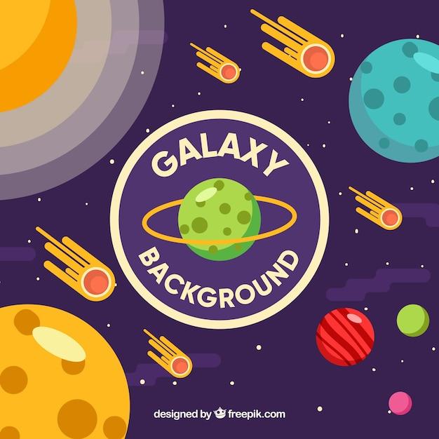 Galaxy hintergrund mit meteoriten Kostenlosen Vektoren