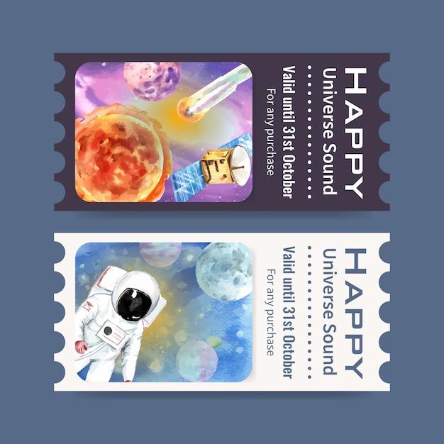 Galaxy ticket vorlage mit astronauten, sonne, planeten, meteor aquarell illustration. Kostenlosen Vektoren