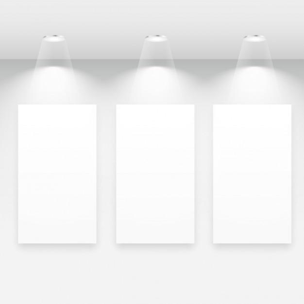 Galerie interieur mit leeren rahmen Kostenlosen Vektoren