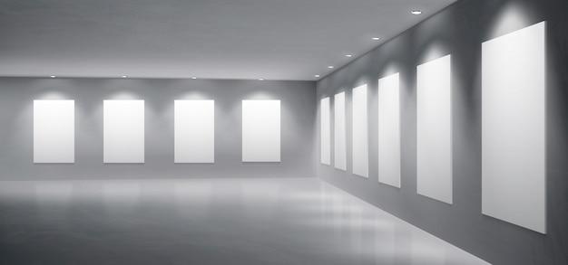 Galerie, realistischer vektor der museumsausstellungshalle Kostenlosen Vektoren