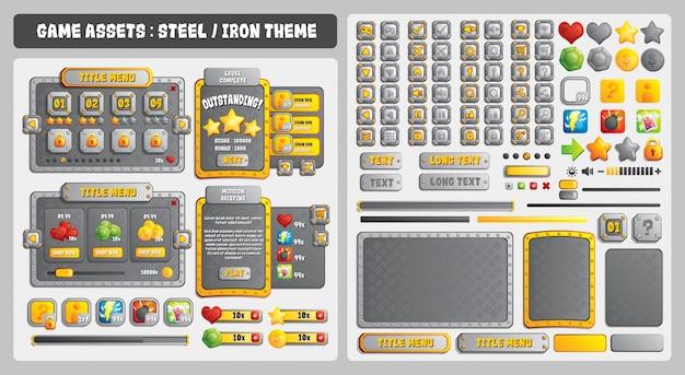 Game assets steel theme Premium Vektoren