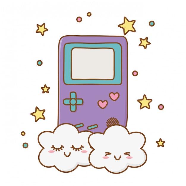 Game boy und wolken Premium Vektoren
