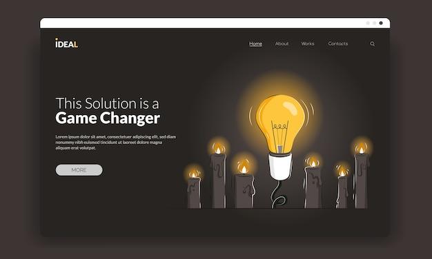 Game changer erste bildschirmvorlage mit einer glühbirne zwischen kerzen als konzept für neue lösungen. Premium Vektoren