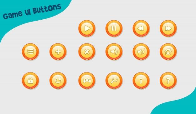 Game design buttons, ui-design-elemente Premium Vektoren