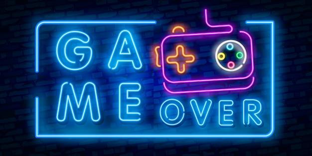 Game over leuchtreklame Premium Vektoren