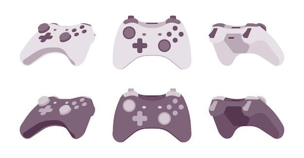 Gamepad in schwarz-weiß-farben Premium Vektoren
