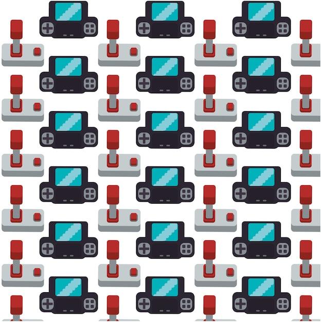Gamepad joystick sammlung nahtlose muster design Premium Vektoren