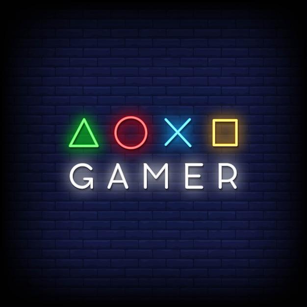 Gamer neon signs style text Premium Vektoren
