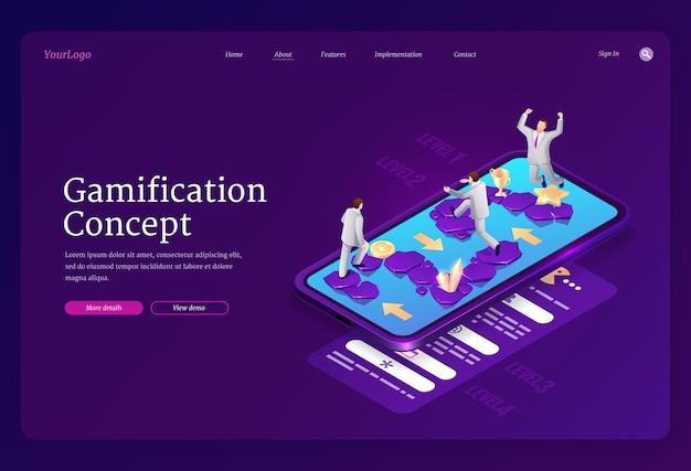 Gamification-landingpage Kostenlosen Vektoren