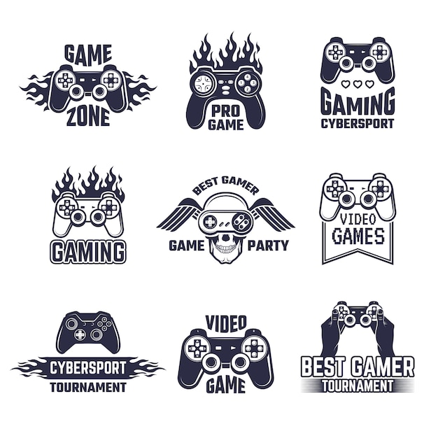 Gaming-logo gesetzt Premium Vektoren