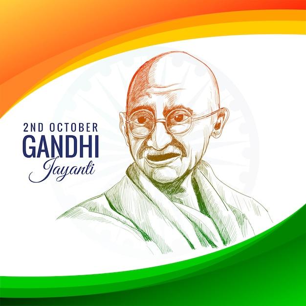 Gandhi jayanti feiertagsfeier in indien am 2. oktober mit welle Kostenlosen Vektoren