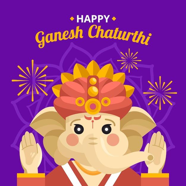 Ganesh chaturthi illustration Kostenlosen Vektoren