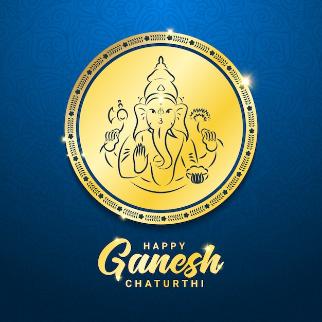 Ganesh chaturthi oder vinayaka chaturthi hindu festival feiert die ankunft von ganesha auf der erde quadratische banner vorlage. gold runde medaillenteller mit ganesha mit elefantenkopf und mandala-ornament. Premium Vektoren