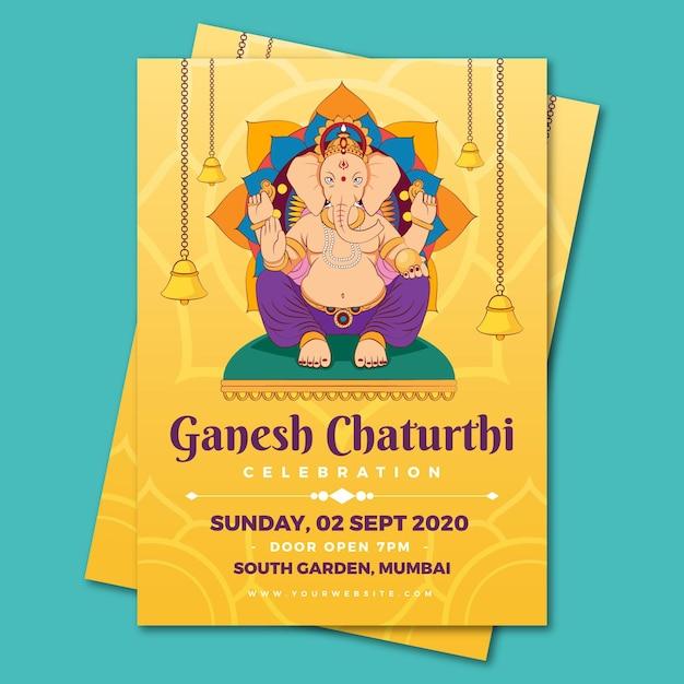 Ganesh chaturthi poster vorlage Kostenlosen Vektoren