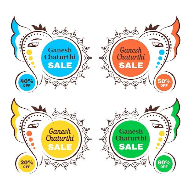 Ganesh chaturthi verkaufsabzeichen Kostenlosen Vektoren
