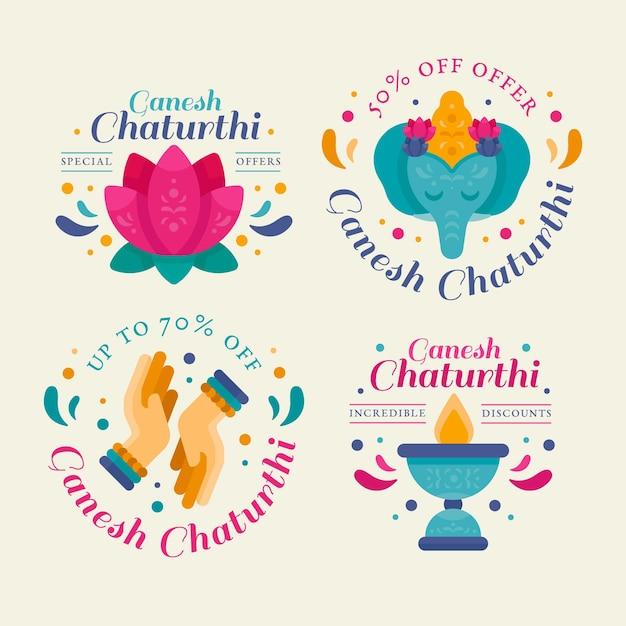 Ganesh chaturthi verkaufsabzeichen Premium Vektoren