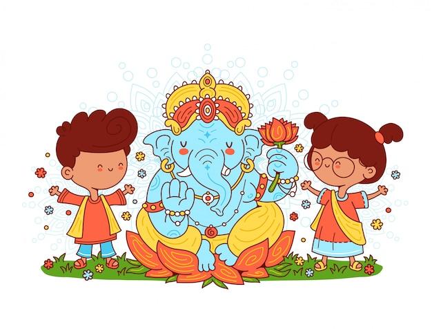 Ganesh indischer gott und kindercharakter. illustration der zeichentrickfigur. auf weißem hintergrund isoliert. Premium Vektoren