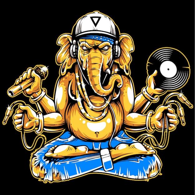 Ganesha mit musikalischen eigenschaften Premium Vektoren