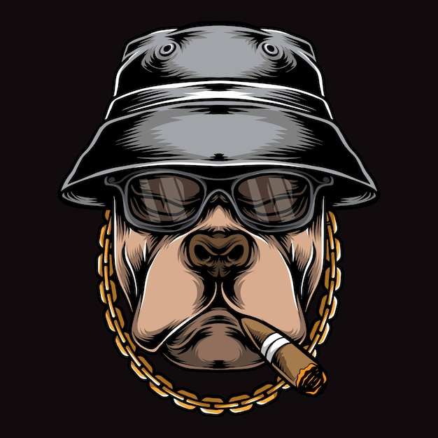 Gangster, der pitbull logo raucht Premium Vektoren