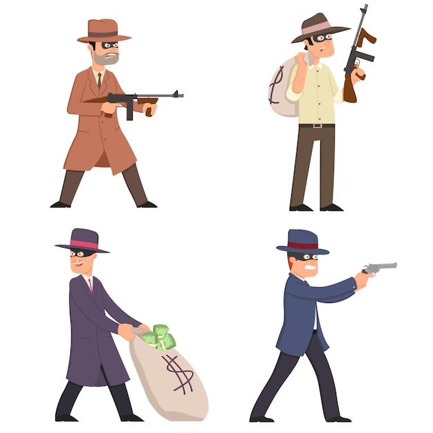 Gangster mit waffen in anzügen, masken und hüten. Premium Vektoren