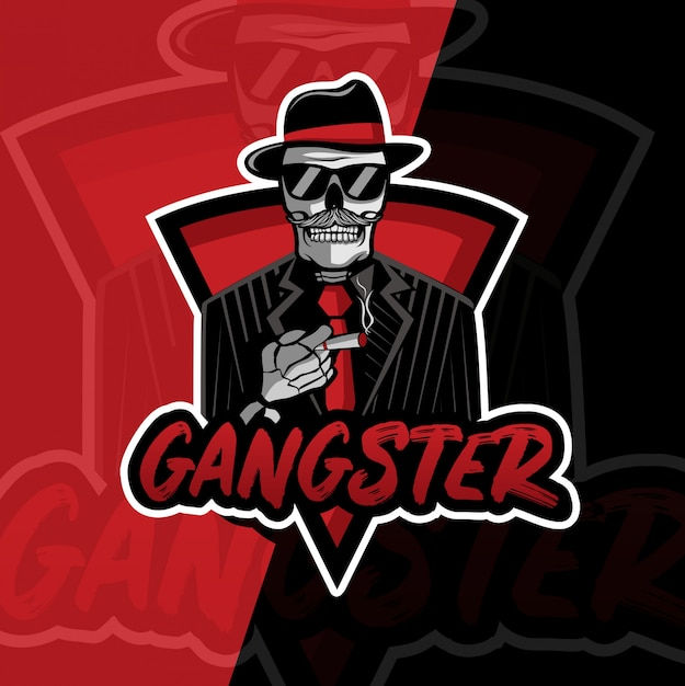 Gangsterschädelmaskottchen esport logoentwurf Premium Vektoren