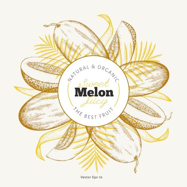 Ganze melone und stücke der melonenentwurfsschablone. Premium Vektoren