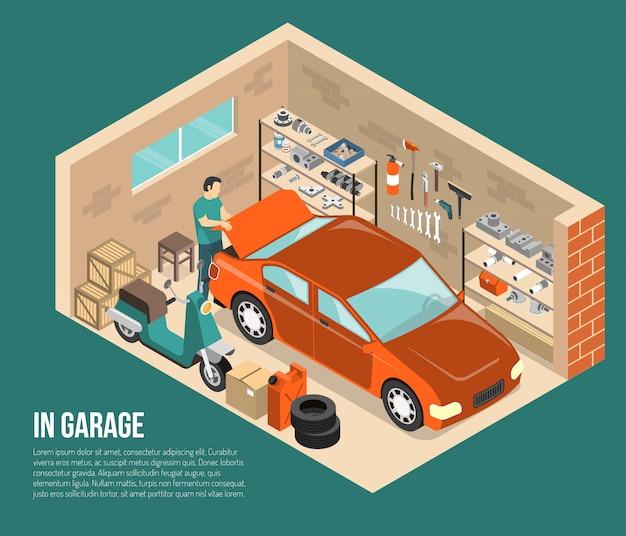 Garage innerhalb der isometrischen illustration Kostenlosen Vektoren