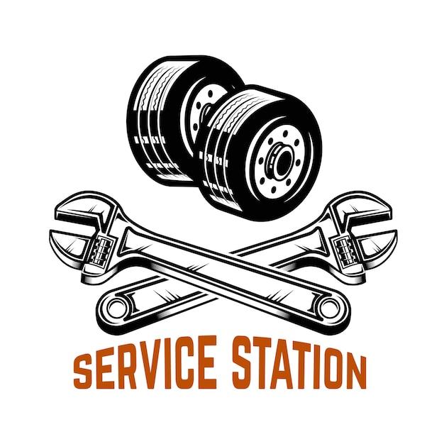 Garage. tankstelle. autoreparatur. element für logo, etikett, emblem, zeichen. illustration Premium Vektoren